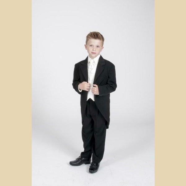 5 piece black tailcoat suit with a cream dobby waistcoat
