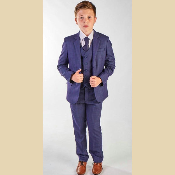 5 piece jacket suit in blue check