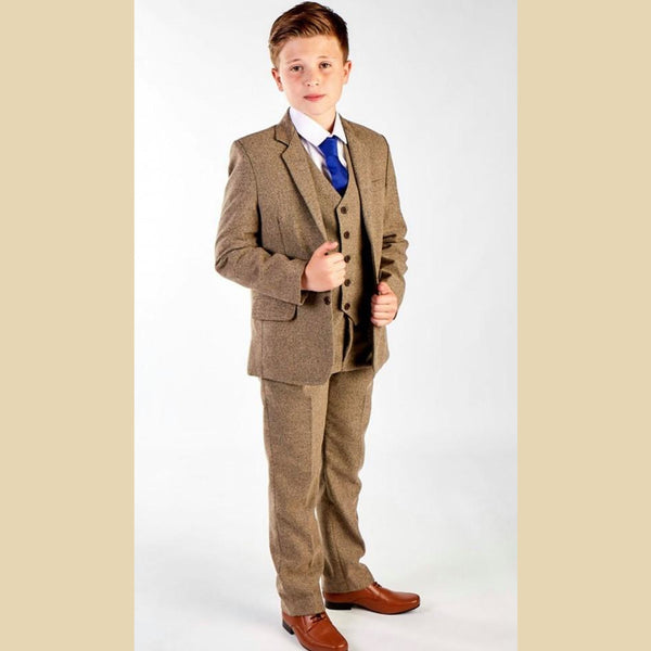 5 piece tweed suit in light brown