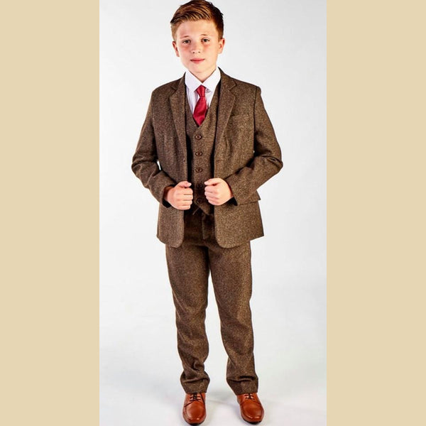 5 piece tweed suit in dark brown