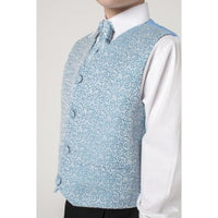 4 piece waistcoat suit in blue with swirl design
