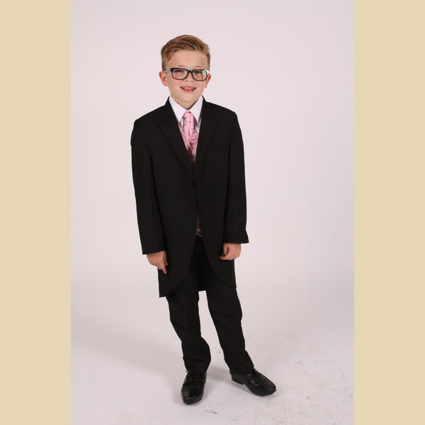 5 piece black tailcoat suit with a pink dobby waistcoat