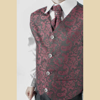 4 piece waistcoat suit in wine with paisley design