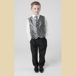 4 piece waistcoat suit in silver with paisley design
