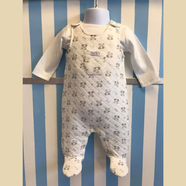 White Dungaree Style Romper With White T-Shirt Set