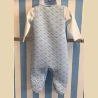 Blue Dungaree Style Romper With White T-Shirt Set