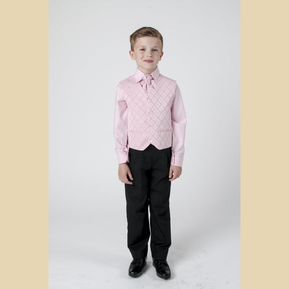 4 piece waistcoat suit in pink with large diamond design