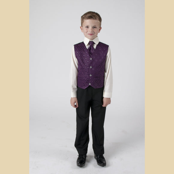 4 piece waistcoat suit in purple with large diamond design