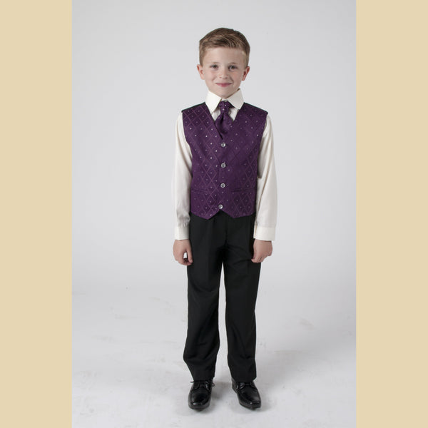 4 piece waistcoat suit in purple with dobby design