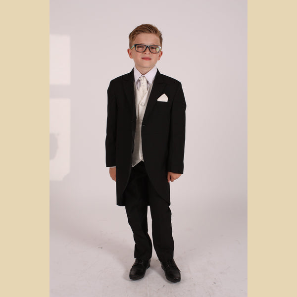 5 piece black tailcoat suit with a cream diamond waistcoat