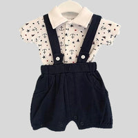 Navy Blue Shorts With Suspenders & Nautical Body Vest