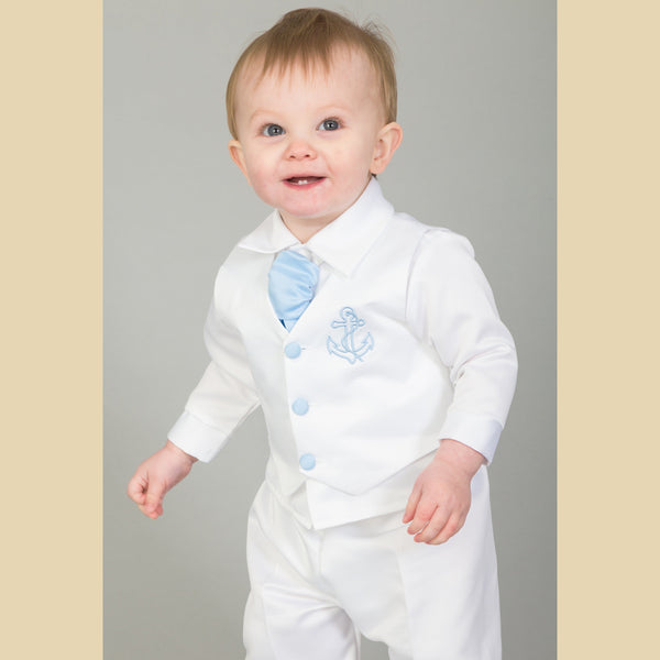 Boys Anchor Christening Suit in White and Blue