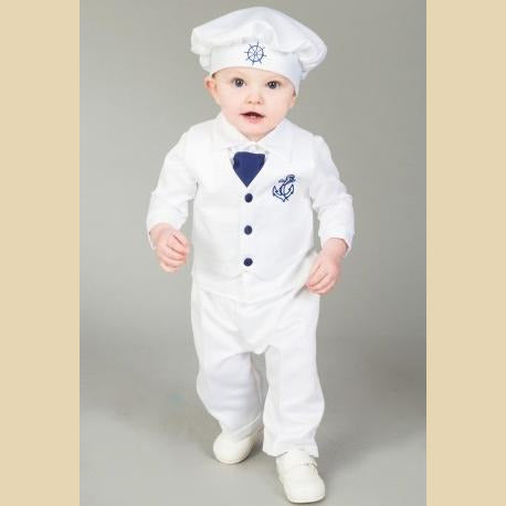 Boys Anchor Christening Suit in White and Navy