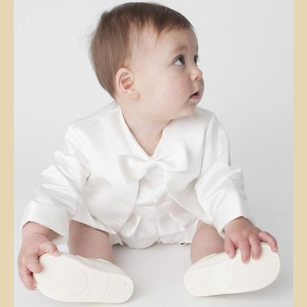 Boys Christening Romper Suit in Ivory