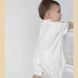 Boys Diamond Christening Romper in Ivory