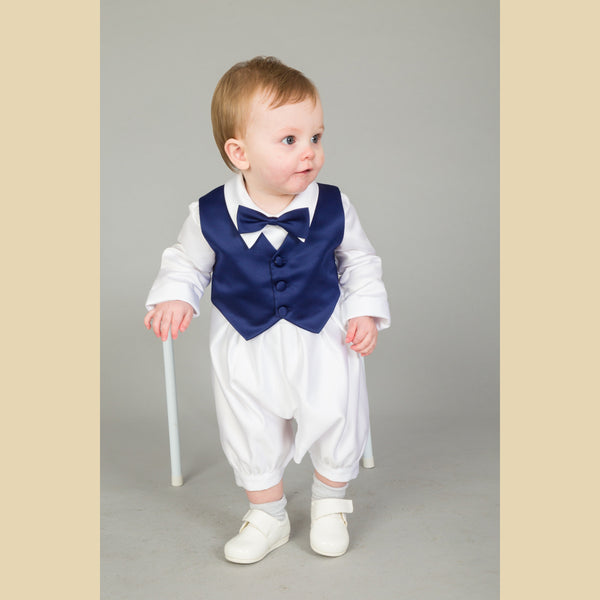Boys Christening Romper Suit in Navy