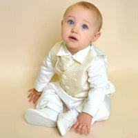 Boys Checked Christening Suit in Gold