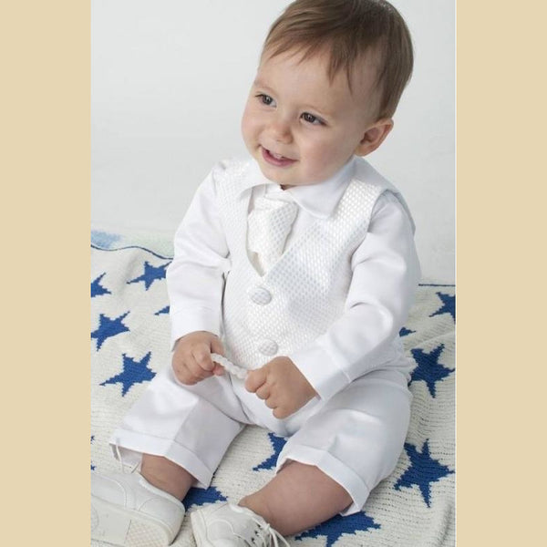 Boys Checked Christening Suit in White