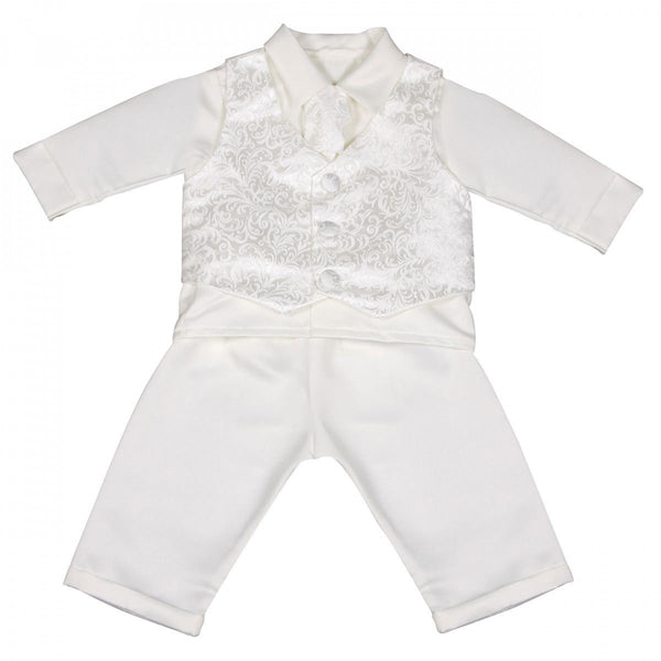Boys Paisley Christening Suit in Ivory