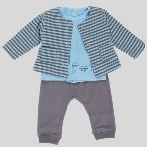 'Houses & Stripes' Trousers, T-shirt & Jacket Set
