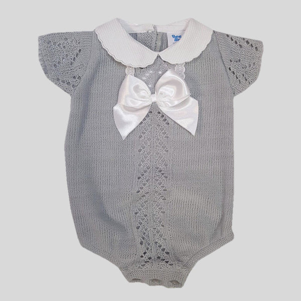 Grey Knitted Lace & Bow Romper