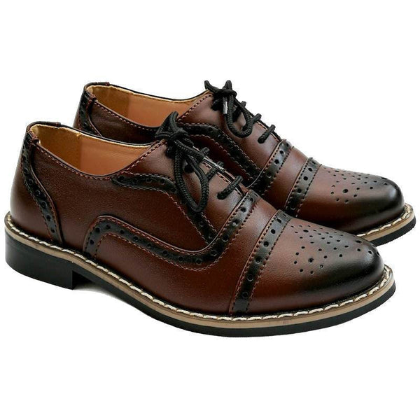 Boys Oxford Shoes in Maroon