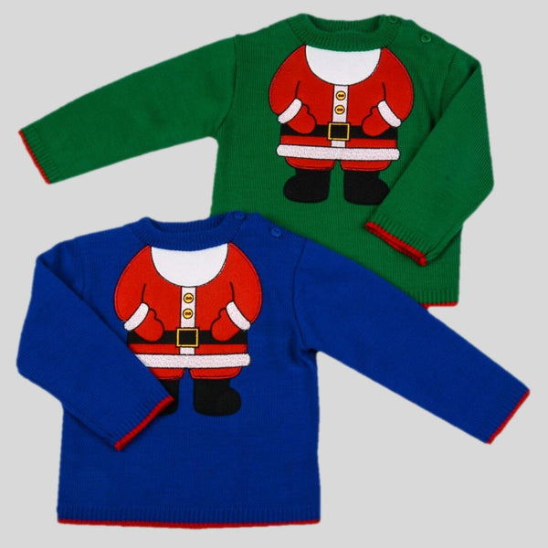 Toddler Christmas Jumper In Blue Or Green