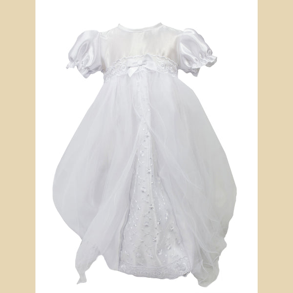 Girls White Christening Dress With Floral Band & Peeping Flower Design