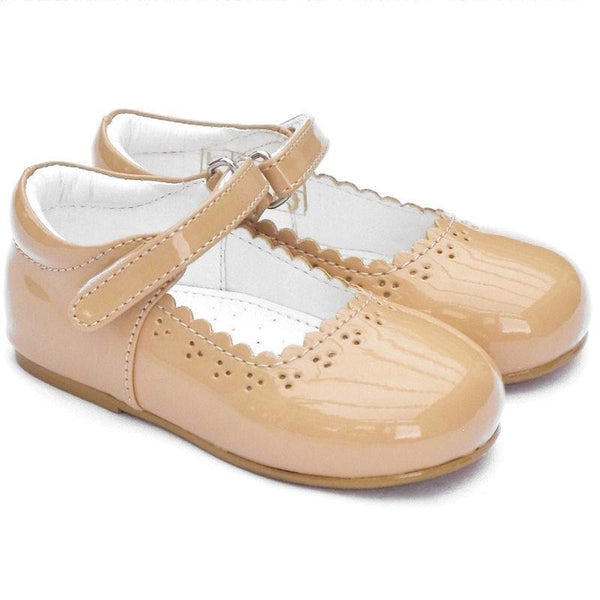 Girls Early Steps Brogue Camel Patent Shoes