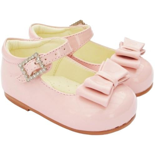 Girls Early Steps Pink Patent Shoes With Bow