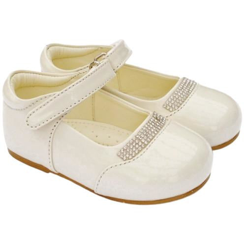 Girls Early Steps Ivory Patent Shoes With Diamante