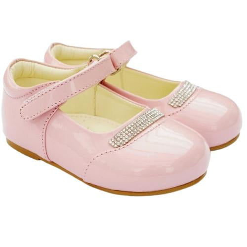 Girls Early Steps Pink Patent Shoes With Diamante