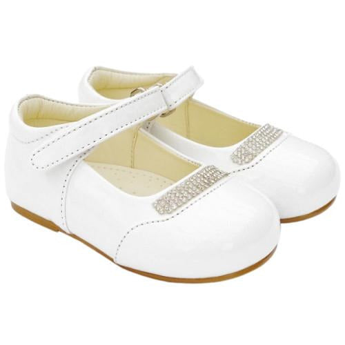 Girls Early Steps White Patent Shoes With Diamante