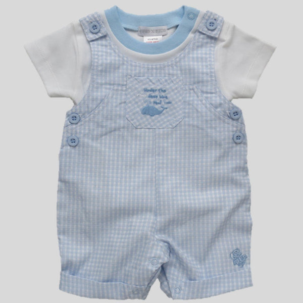 'Little Whale' Dungaree Style Romper & T-Shirt Set
