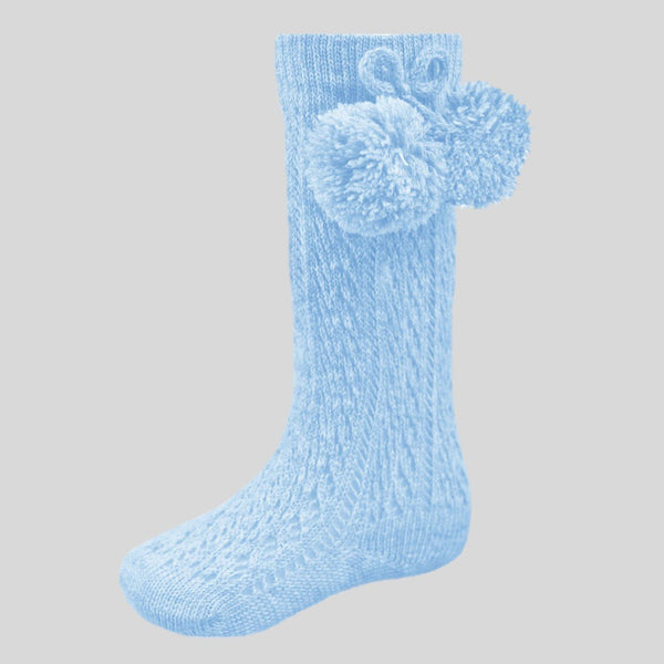 Blue Pelerine Socks With Pom Poms