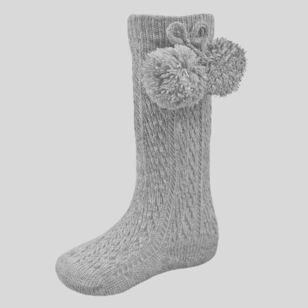Grey Pelerine Socks With Pom Poms