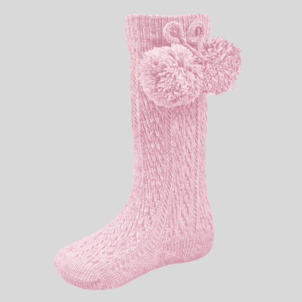 Pink Pelerine Socks With Pom Poms