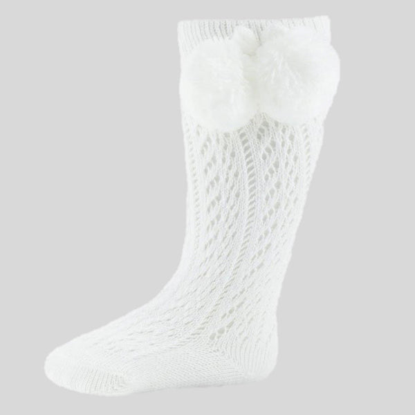 White Pelerine Socks With Pom Poms