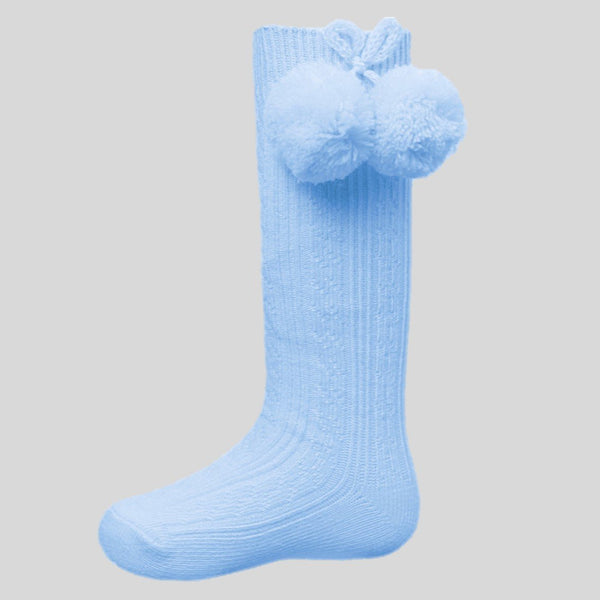 Blue Ribbed Knee Socks With Pom Poms