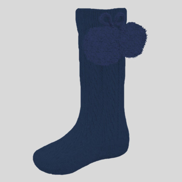 Navy Blue Ribbed Knee Socks With Pom Poms