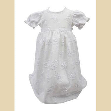 Girls White Christening Dress With Embroidered Flowers
