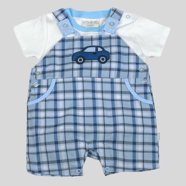 Car Dungaree Style Romper & T-Shirt Set