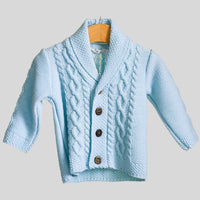Blue Shawl Collar Cable Cardigan