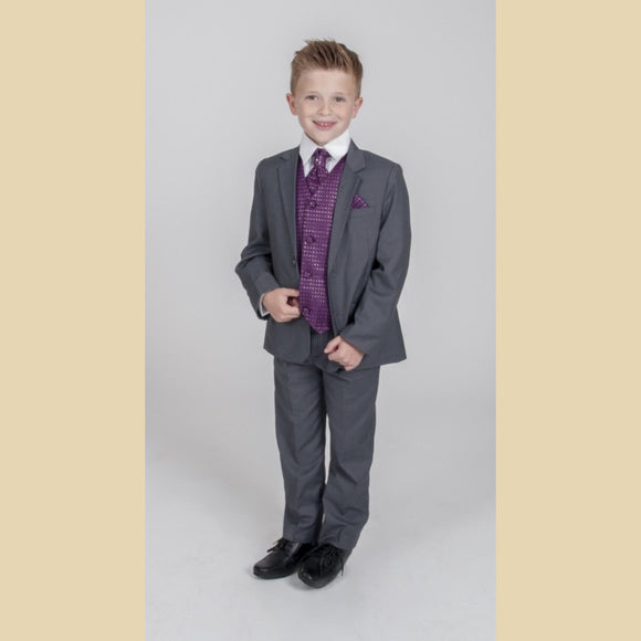 5 piece grey jacket suit with a purple diamond waistcoat