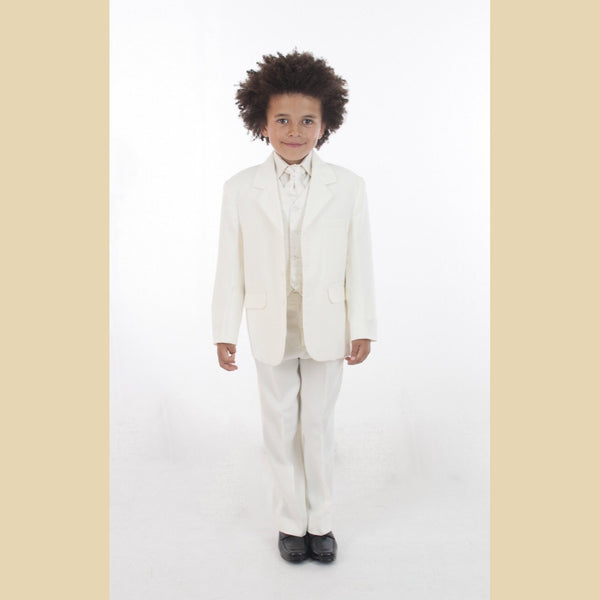 5 piece jacket suit in all cream with a dobby waistcoat