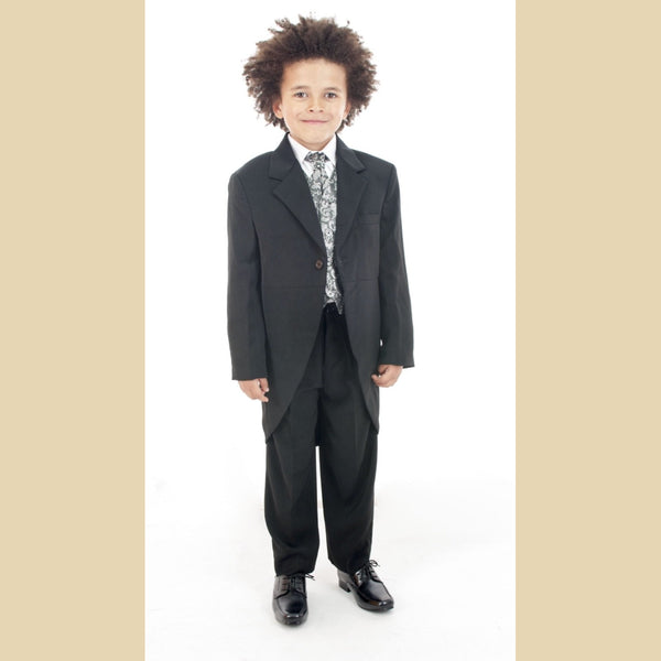 5 piece black tailcoat suit with a silver paisley waistcoat