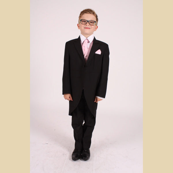 5 piece black tailcoat suit with a pink diamond waistcoat