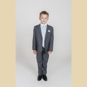 5 piece grey jacket suit with a blue diamond waistcoat