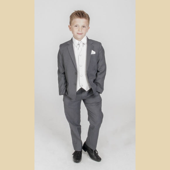 5 piece grey jacket suit with an ivory diamond waistcoat