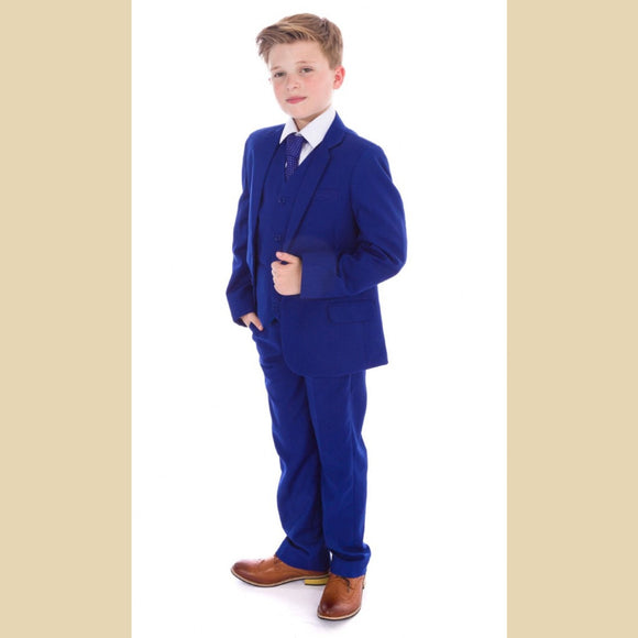 5 piece jacket suit in electric blue